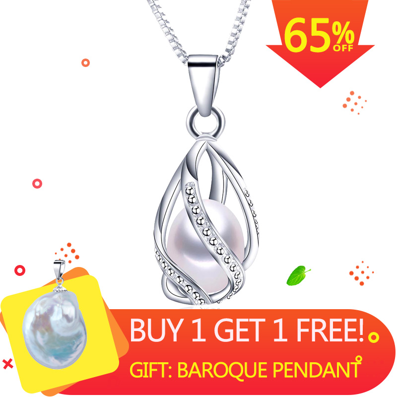Classic Special Design 8-9mm Natural Pearl Pendant Necklace With 45cm Silver Chain 4 Colors Wholesale Casual Jewelry