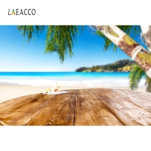 Laeacco Wooden Board Palm Tree Beach Tropical Summer Portrait Photography Background Photographic Backdrop For Photo Studio
