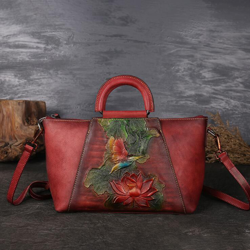 กระเป๋าถือหรูผู้หญิงออกแบบกระเป๋าหนังแท้กระเป๋าถือวาดด้วยมือไหล่กระเป๋า Vintage Crossbody Messenger กระเป๋า-ใน กระเป๋าหูหิ้วด้านบน จาก สัมภาระและกระเป๋า บน   3