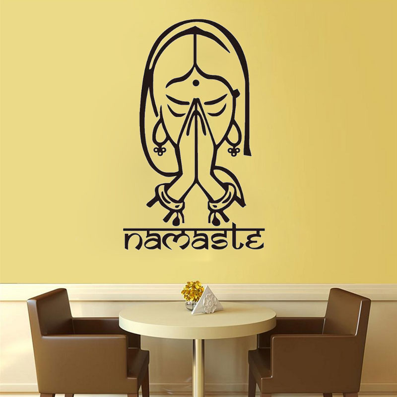 ZOOYOO Namaste Wall Stickers Indian Yoga Decals Home Decor Living Room Bedroom Decoration Art Murals