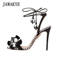 JAWAKYE Women Sandals Sexy high heel Sandals for women pellets Tassel ball Ankle Lace up Ladies casual High heels Summer Shoes