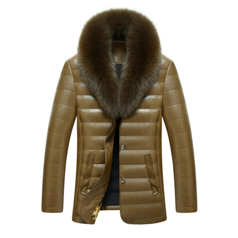 Hot 2016 Stylish Winter Ultra Light Duck Down Jacket Men Long Punk New Brand Slim Fit Mens Jackets Sheep Skin Leather Casual 3XL