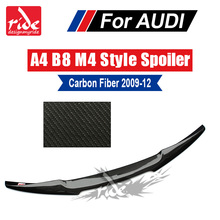 For Audi A4 A4a A4Q Carbon Spoiler Tail B8 New M4 Style Fiber rear spoiler Rear trunk Lid Boot Lip wing car styling 09-12