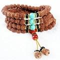 Ubeauty 8mm 108 Nepal bodhi seed beads mala prayer bracelet turquoise beads necklace Tibetan Buddha meditation yoga tool