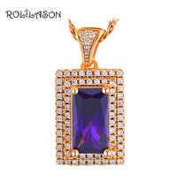 ROLILASON Romantic Purple Zirconia Crystal Gold Tone Lowest Price Fashion Jewelry Pendant for Women LNS648