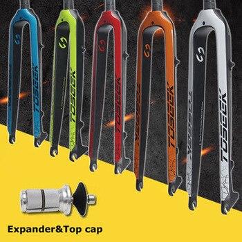 """29er MTB Mountain Bike Fork Carbon Fiber 1-1/8"""" Steerer Disc Brake Rigid Bike Fork"""