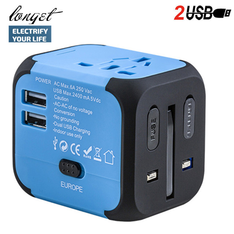 Longet Dual USB Adapter with 2.4A Universal Travel Charger, All in One Worldwide AC Power Adapter Outlets for Europe UK US AU detachable universal compact dual usb ac power charger adapter blue 100 240v uk plug