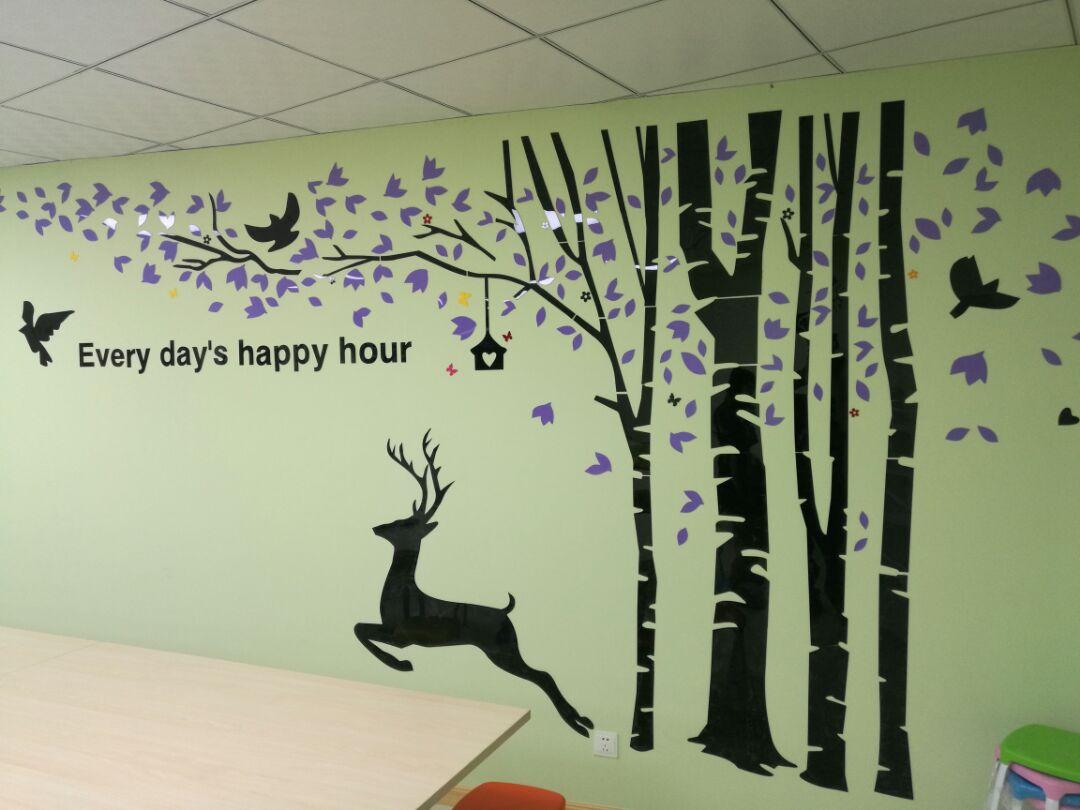 Forêt et cerf créatifs grand 3D acrylique en trois dimensions stickers muraux décoratifs salon chambre arbre stickers muraux