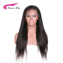 Carina Brazilian Non-Remy Hair Natural Color Yaki Straight Glueless Full Lace Human Hair Wig with Baby Hair Pre-plucked Hairline