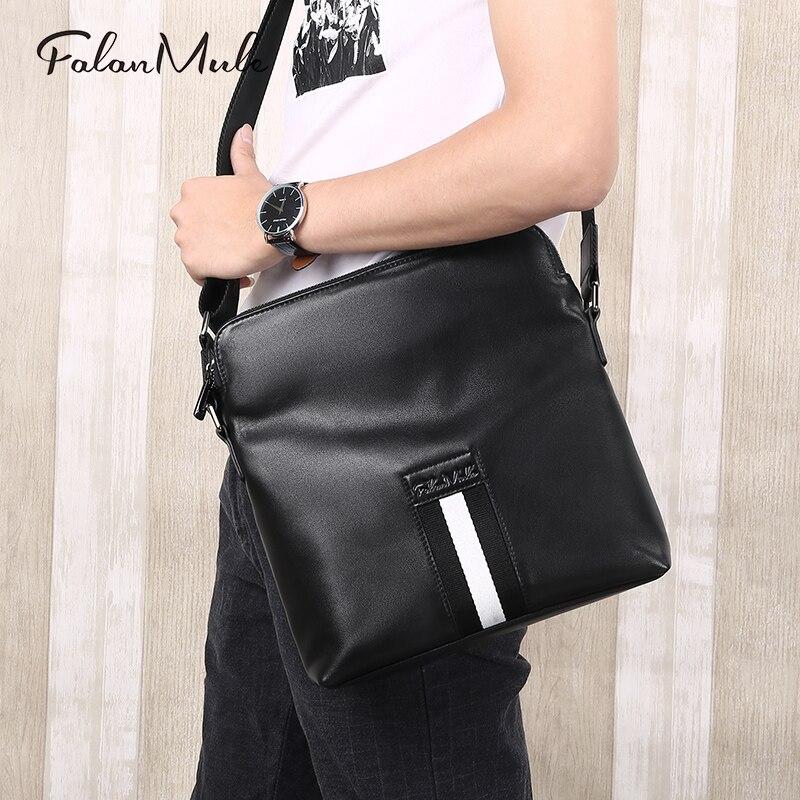 все цены на Genuine leather Crossbody Bag Business briefcase Men Shoulder bag Double zipper Handbag Messenger Bags онлайн