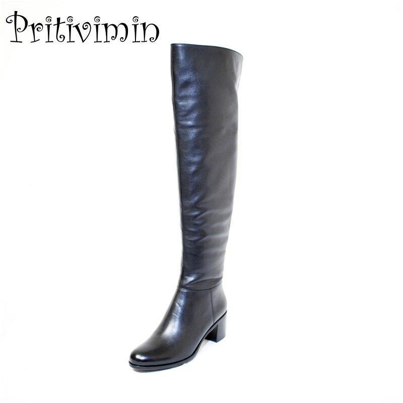Pritivimin FN81 inverno caldo donne reale della pelliccia di lana foderato scarpe Delle Signore del cuoio genuino di alta boot ragazza moda over-the-stivali al ginocchio