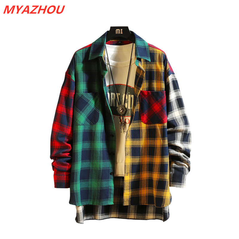 2019 New Personality Patchwork Red Plaid Shirt Men's Street Casual Hip Hop Long-sleeved Shirt Men's Loose Shirt Large Size M-5XL