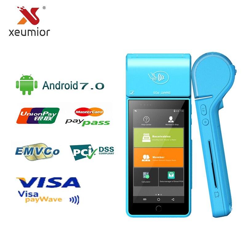 Terminal portatif tenu dans la main EMV PCI a certifié la Machine Mobile d'android de paiement avec l'imprimante thermique du lecteur 58mm de carte de crédit de NFC