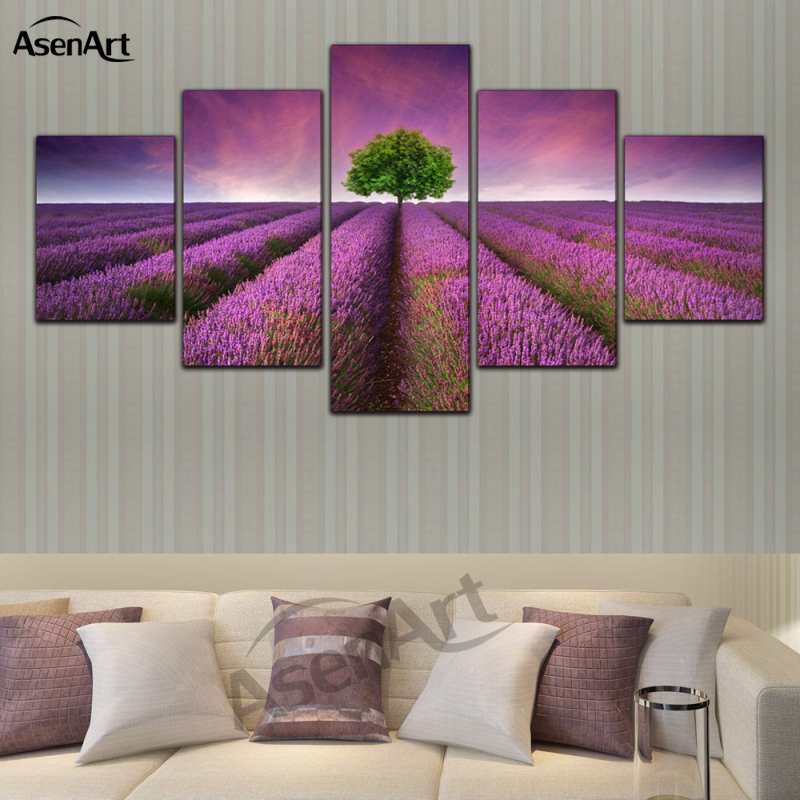5 Panel Canvas Art Lavender Flower Painting Canvas Print Paintings Home Decoration Living Room Framed Ready to Hang