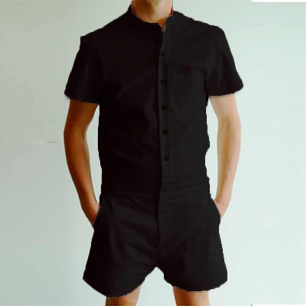 59cd32ef9c05 Detail Feedback Questions about Summer Fashion Short Sleeve Mens Rompers  Male Single Breasted Jumpsuit Cargo Short Pants Boyfriend Zip Trousers Party  ...