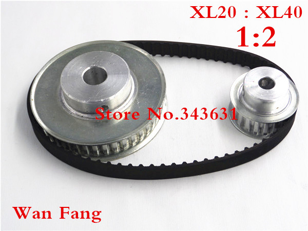 Timing Belt Pulley XL Reduction 2:1 40teeth 20teeth shaft center distance 80mm Engraving machine accessories - belt gear kitTiming Belt Pulley XL Reduction 2:1 40teeth 20teeth shaft center distance 80mm Engraving machine accessories - belt gear kit