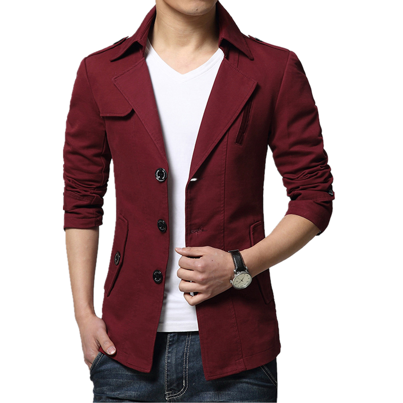 2017 new spring and autumn business casual windbreaker coat slim epaulet single breasted hooded windbreaker jacket