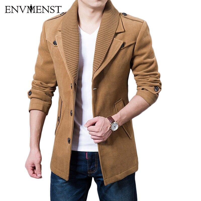 2017 Бизнес Для мужчин Повседневное теплые пальто Размеры M-3XL Высокое качество двойной воротник зимний Тренч утепленные Модные мужские windbeaker