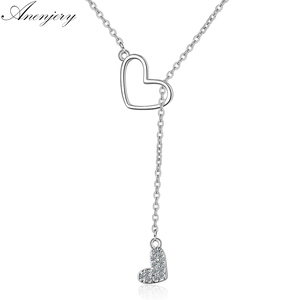 Anenjery Zircon Double Love Heart Adjustable Short Sweater Chain Necklace For Women Silver Color Necklace S-N323