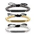 2016 nova anil arjandas micro pave cz preto pulseira de homens mulheres rodada ouro/rose banhado a ouro beads trançado macrame pulseiras f5097