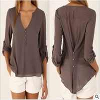 2017 Loose Casual Fall Blouses Women Long Sleeve Deep V Neck Chiffon Blouse Shirt Button Back