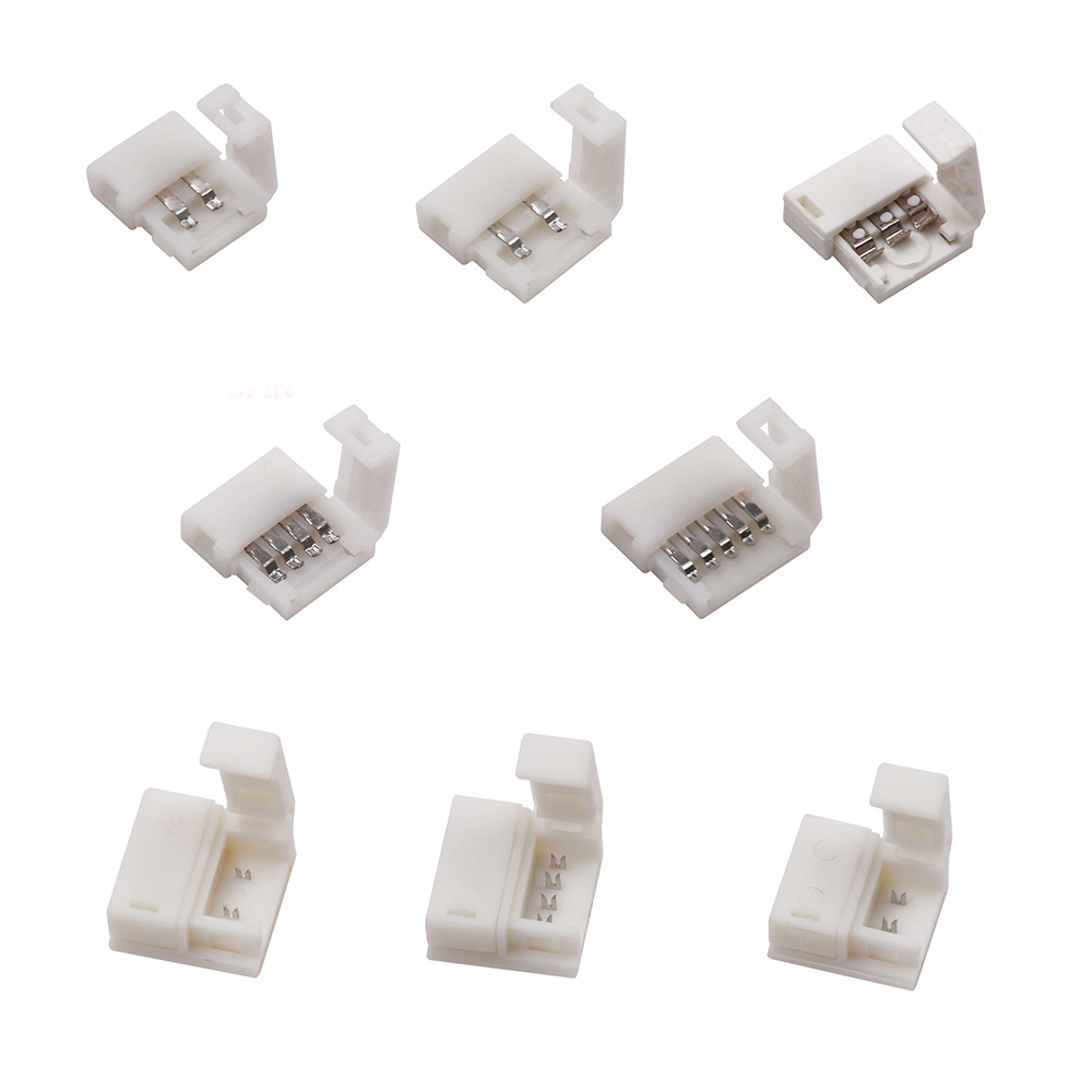 LED Connector 2 Pin/3 Pin/4 Pin Solderless For 8mm/10mm 5050/3528/ws2811/ws2812b/5630/5730 Smd LED Strip 5pcs/lot