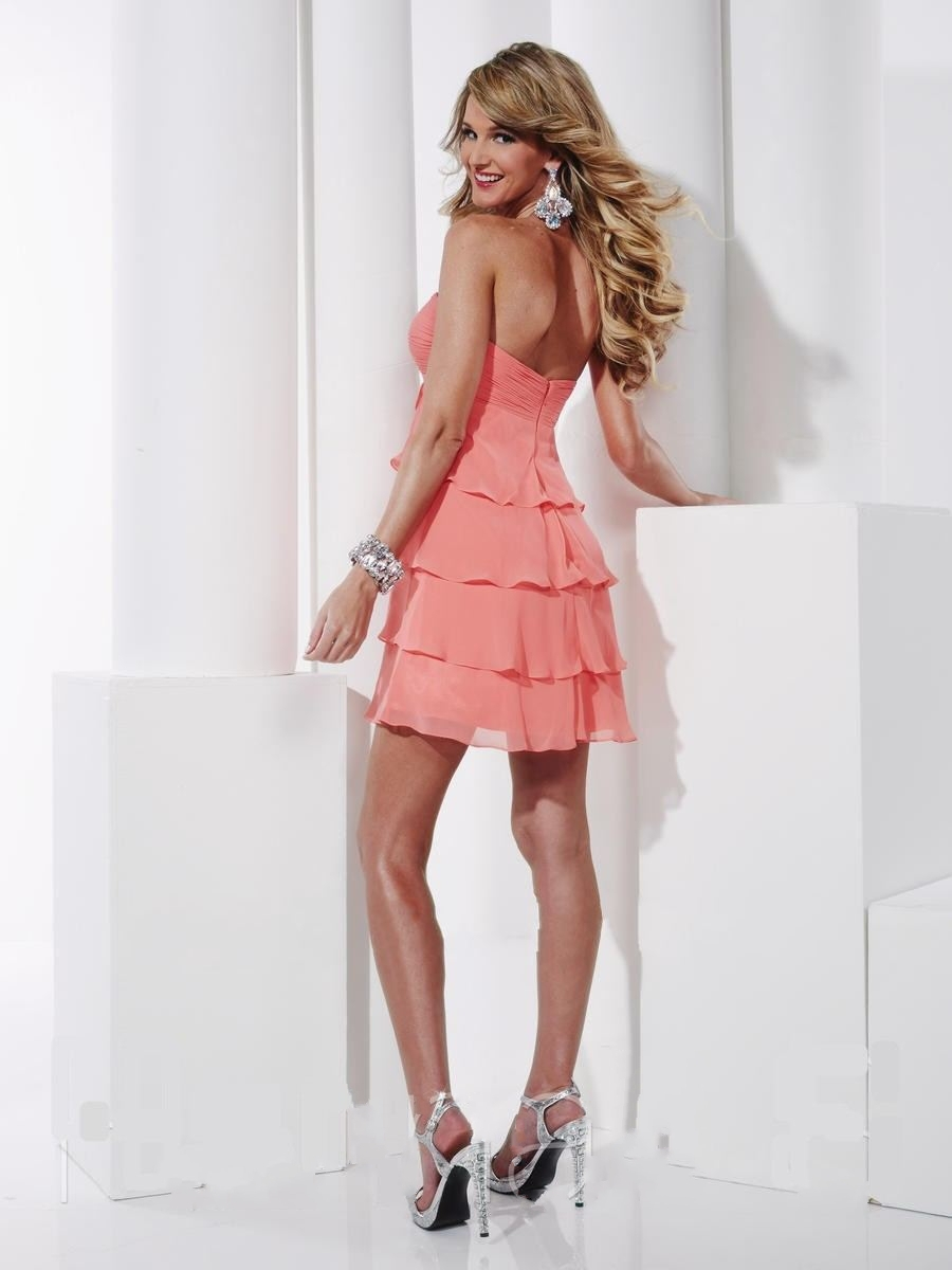 Sexy Strapless Tiered Short Coral Cocktail Dress cute 8th grade ...
