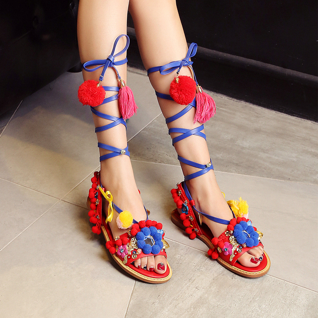 c056c7b136c57e Colorful Flat Sandals Girls Shoes Women Bohemian Summer Pompon Sandals  Gladiator Roman Strappy Boots Leather Tassel Shoes Flower