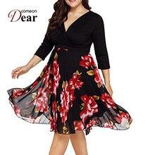67fb6cf18 Comeondear Outono Vestido Plus Size Roupas Femininas Floral Midi Vestido Em  Forma e Alargamento Curvy Vestido