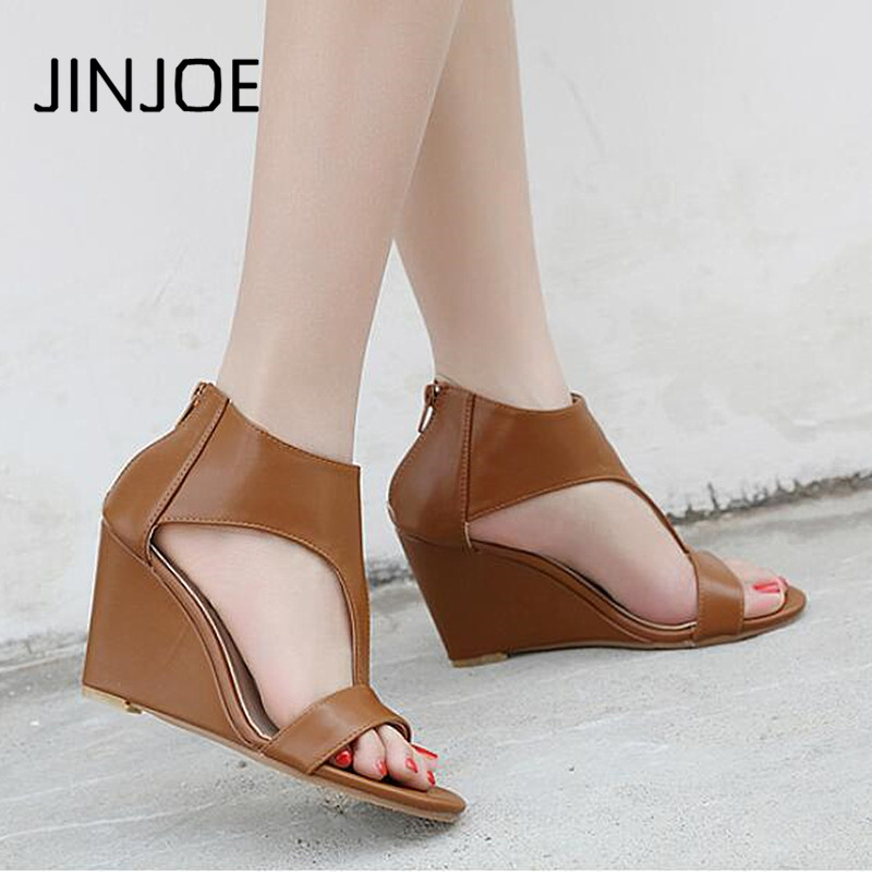 JINJOE 2018 Summer New style shoes Woman Open toe High-heeled Wedges shoe Solid color Rome Leisure pumps