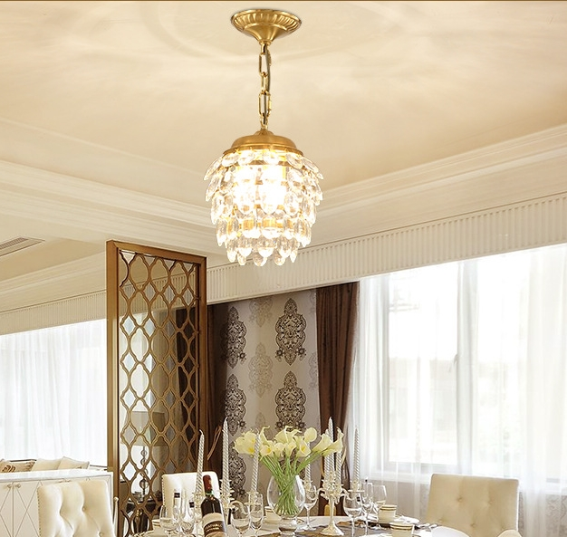 New Chinese restaurant chandeliers American crystal dining room lamp retro copper living room chandeliers balcony study bedroom modern crystal chandelier hanging lighting birdcage chandeliers light for living room bedroom dining room restaurant decoration