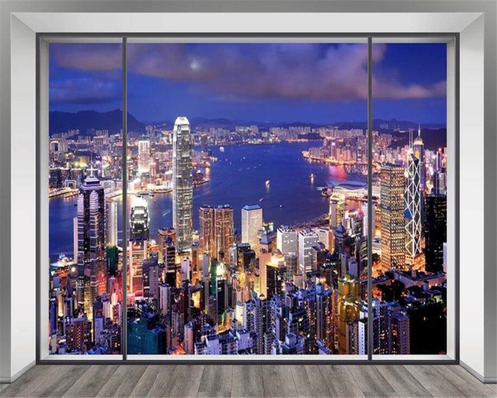 Beibehang Custom Wallpaper Fantasy High Rise Building Night View