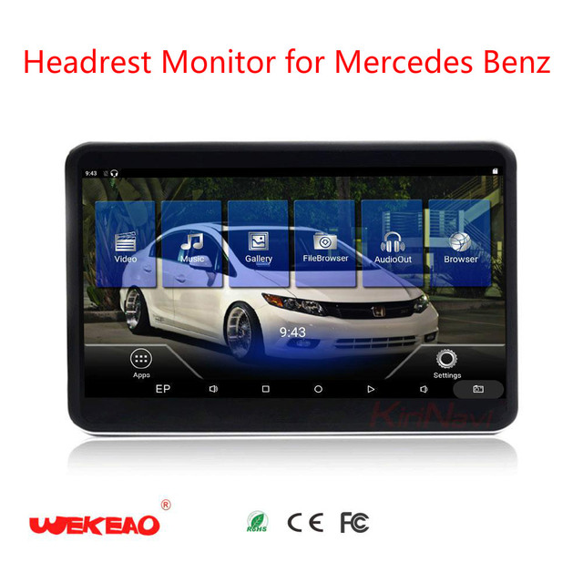 Wekeao 11.6 Inch LCD Headrest Monitor audio Player For Mercedes Benz Back Seat Monitor Android 6.0 Entertainment 4k HD Display
