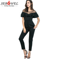 Sebowel Black Casual Rompers Womens Jumpsuit For Women 2018 Short Sleeve Ruffle Jumpsuit Female Office Formal
