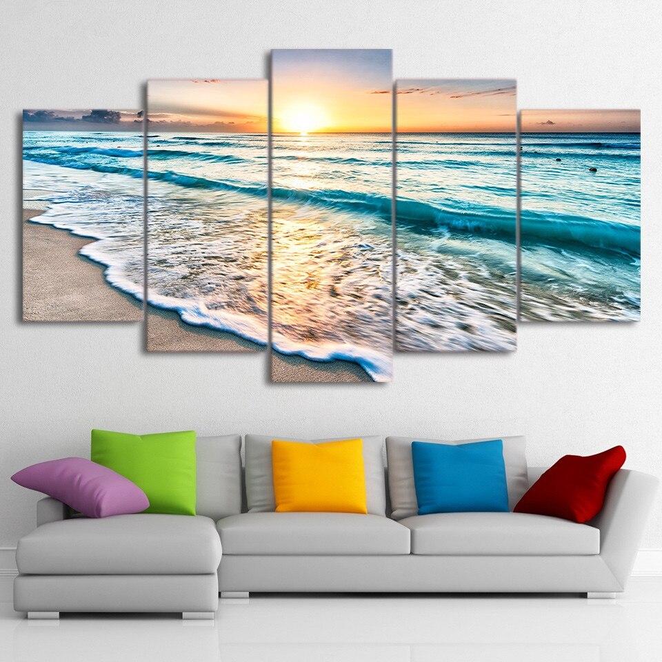 Tela Pittura di Arte Della Parete Cornice Home Decor Immagini 5 Pezzi Seascape Sunset Beach Sea Wave Poster Soggiorno HD Stampato PENGDA