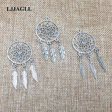 LJJAGLL Metal Fit Earrings Neckalce Diy 10pcs/lot Vintage Silver Tree Leaf Feather Wings Dream Catcher Pendant Charms DIY002