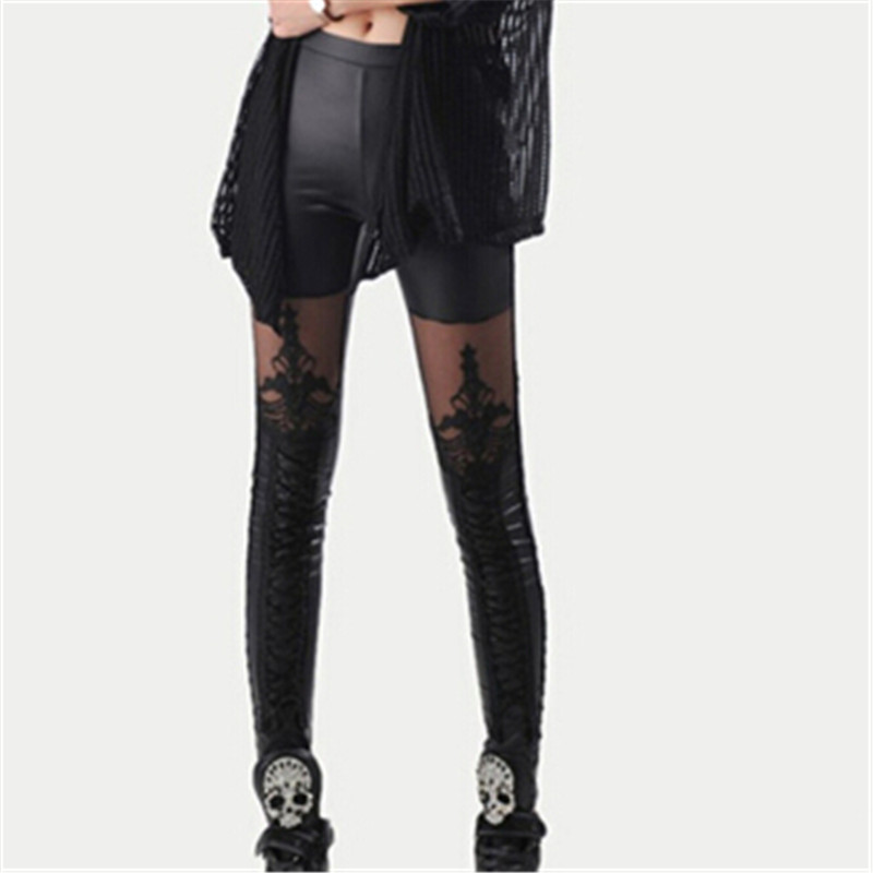 Fashion Spring Autumn Women's   Pants   Ankle Length Faux Leather Stretchy Thin Trousers Patchwork Lace   Pants     Capris