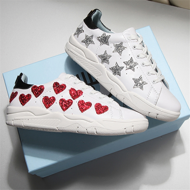 Soft Leather Glitter Red Heart Stars Top High Lace Up Women Sneakers Shoes Height Increasing Footwear Casual White Shoes Woman 2018 new casual leather sneakers red black lace up comfortable footwear women sneakers shoes 6 5cm