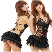 Hot Sexy Costumes Details Sexy Lingerie Hot Dress Underwear Backless Lace Set Erotic Lingerie+g-string Black White