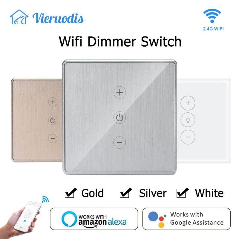 Ouro/prata led dimmer inteligente controle de toque interruptor wi-fi stepless dimmer com lâmpada compatível com amazon alexa google assistente