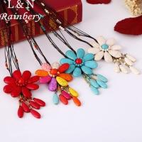 Rainbery 2017 New Boho Handmade Long Necklace Bohemian Colorful Stone Flower Sea Beach Tassel Pendants Necklace
