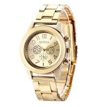 Золотой Новый часы золотые модные женские туфли часы Полный Золото Нержавеющаясталь кварцевые часы наручные часы унисекс часы оптом мужские