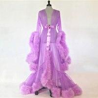Фиолетовый перо Свадебные будуар одеяние невесты Тюль Иллюзия сексуальное с раструбом рукава Длинные платье с отделкой плюшем костюм Mingli