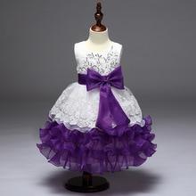 beautiful evening dinner dress Kids girl flower puff princess dresses birthday costume children wedding clothes