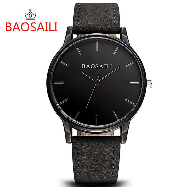 eacd01ee458 BSL996 BAOSAILI Brand Leather Strap Wristwatch Mens Relogios Masculino  Stainless Steel Back Sport Watch