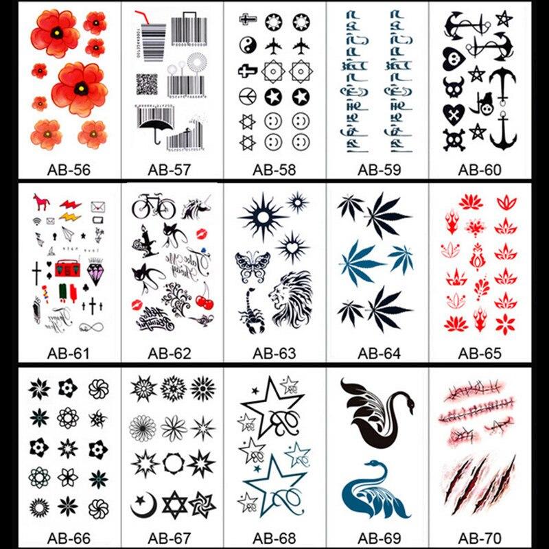 50 Sheet Set Arte Corporal Harajuku Impermeable Etiqueta Engomada - Dibujos-de-tatuajes-pequeos