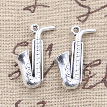 Saxophone Antique Silver Charms Wholesale 5Pcs