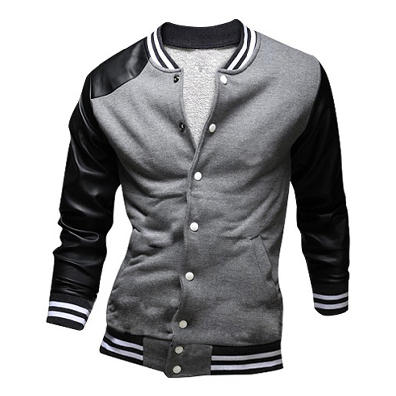 Jacket Leather Sleeves Men - Jacket