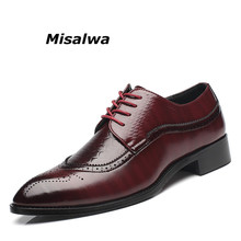 Misalwa Italy Mens Brogue Shoes Lace Up Handmade Leather Oxfords For Men Pointed Toe Wedding Party Chaussure Homme Plus