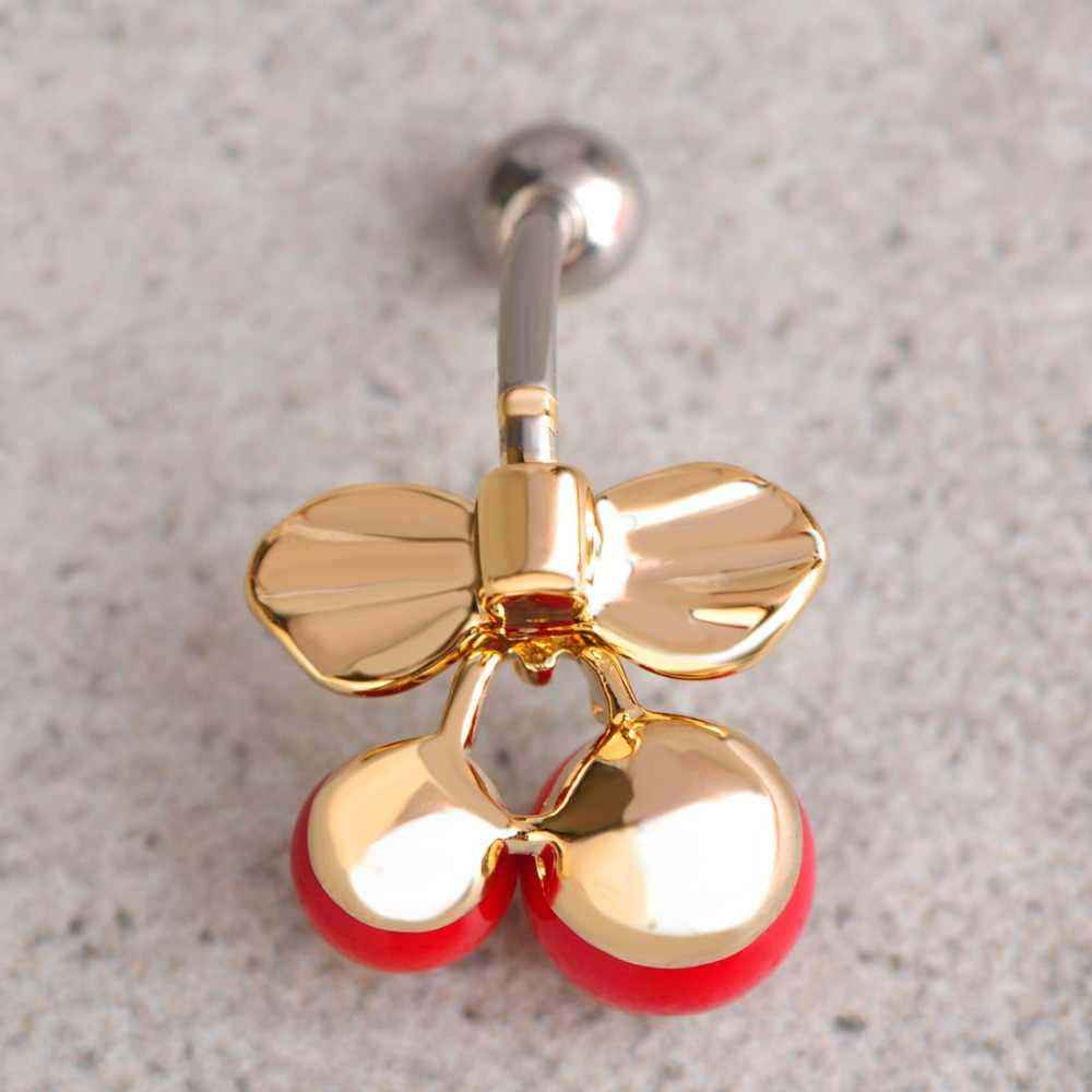 Medical Stainless Steel Thin Red Cherry Belly Navels Ring Enamel Plant Belly Button Rings Women Piercing Ombligo Nombril 1 6 Cm